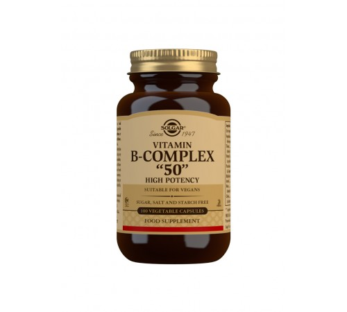"Vitamin B-Complex ""50"" High Potency Vegetable Capsules - Pack of 100"