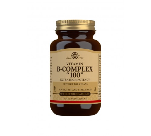 "Vitamin B-Complex ""100"" Extra High Potency Vegetable Capsules - Pack of 50"