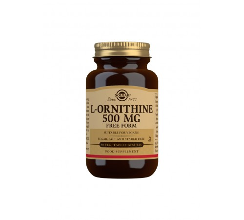 L-Ornithine 500 mg Vegetable Capsules - Pack of 50