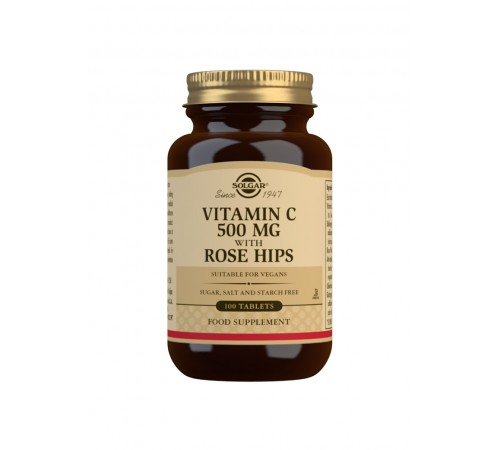 Vitamin C 500 mg with Rose Hips Tablets - Pack of 100