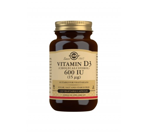 Vitamin D3 (Cholecalciferol) 600 IU (15 ?g) Vegetable Capsules - Pack of 120
