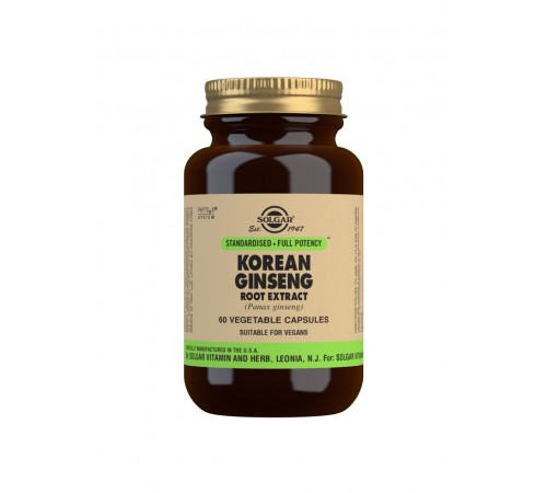 Korean Ginseng Root Extract Vegetable Capsules - Pack of 60
